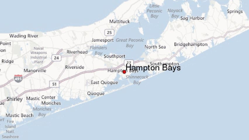 Hampton Bays is the new heart of Long Island. Minutes away from restaurants and shopping. Beach is approximately 5 miles away (10 minutes or less by car).