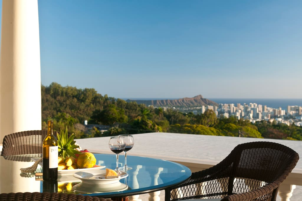 Stunning views of Diamond Head and Waikiki from your large covered lanai.