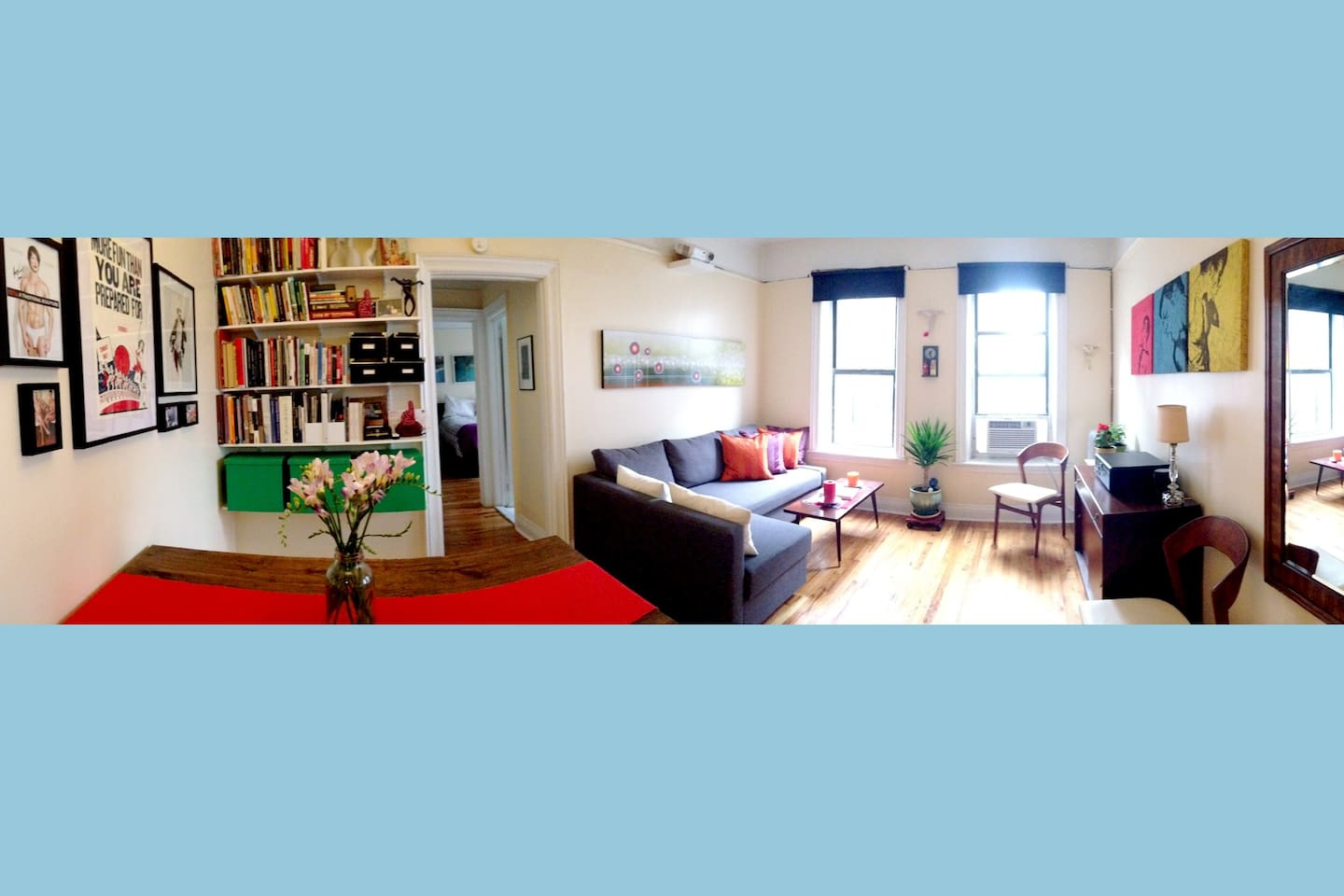 Welcome to our bright, colorful, art-filled apartment in Brooklyn!