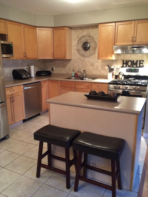 Stainless steel appliances including a natural gas stove and dishwasher.