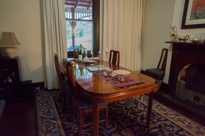 Formal dining room to yourselves with superb linen china and a real fire.