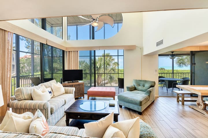 Gulf Front two story townhouse with a coastal flair!