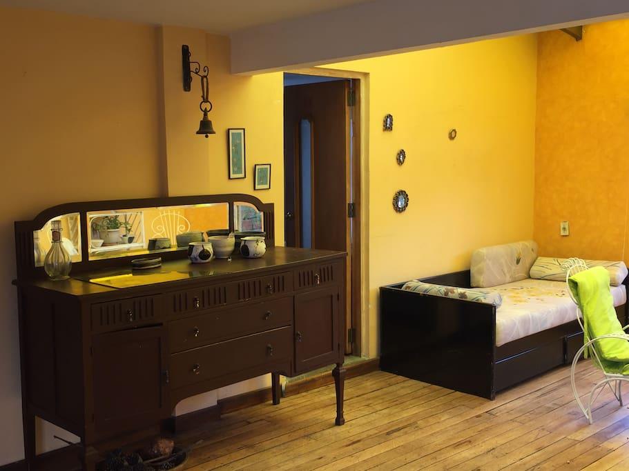 El área de descanso se puede usar para recibir visitas.