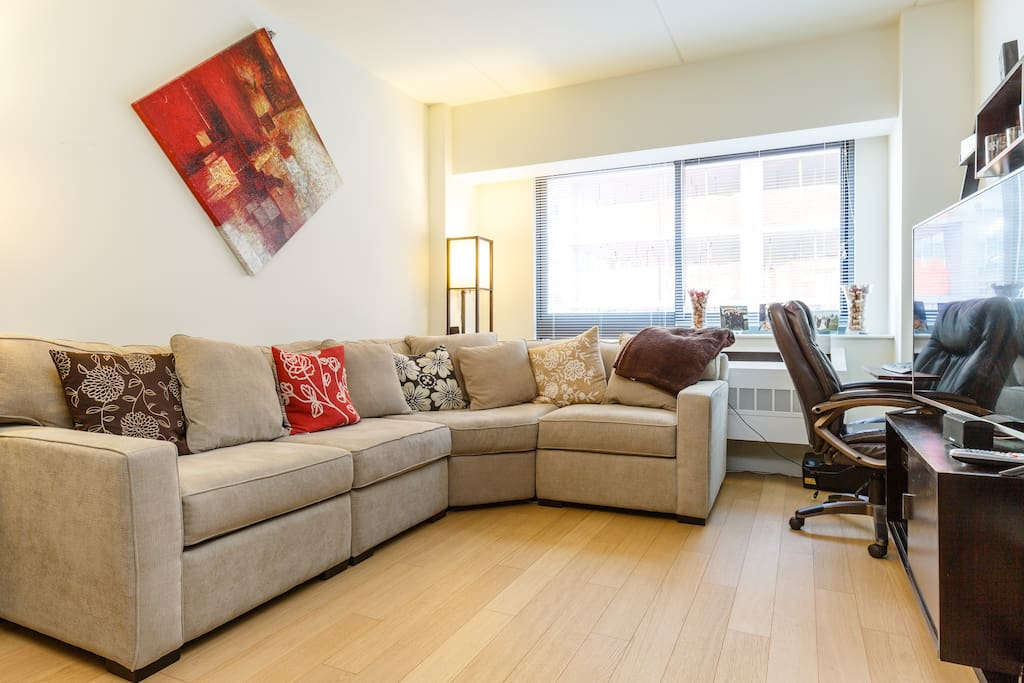 Living room space. Fits a plush queen size air mattress for additional guests.