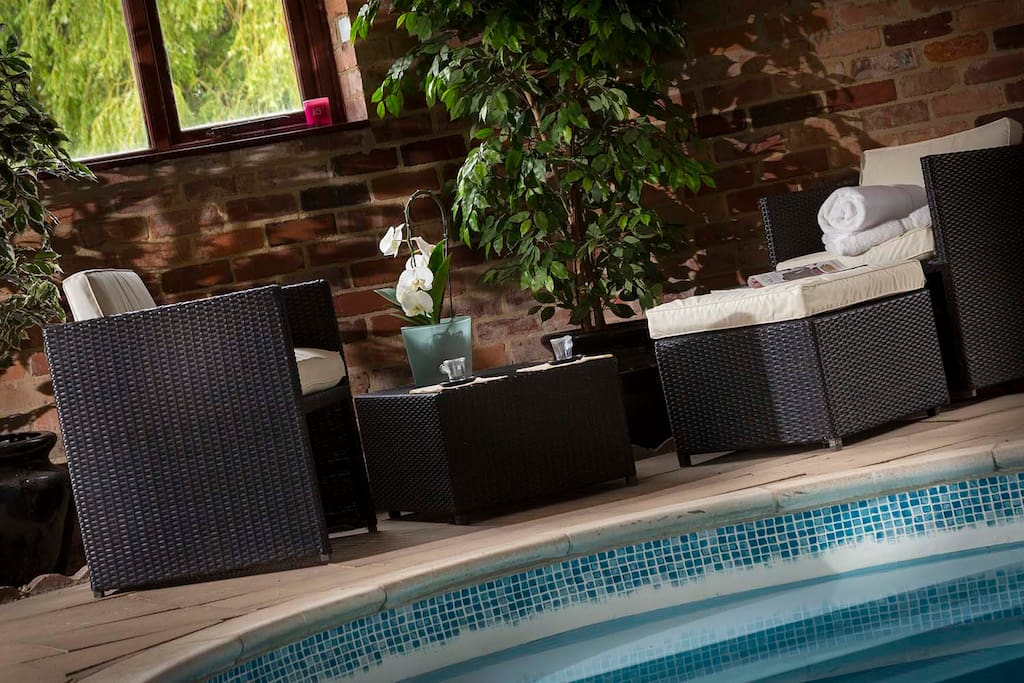 Indoor heated swimming pool.  Pool & cottages heated with green energy, biomass boiler