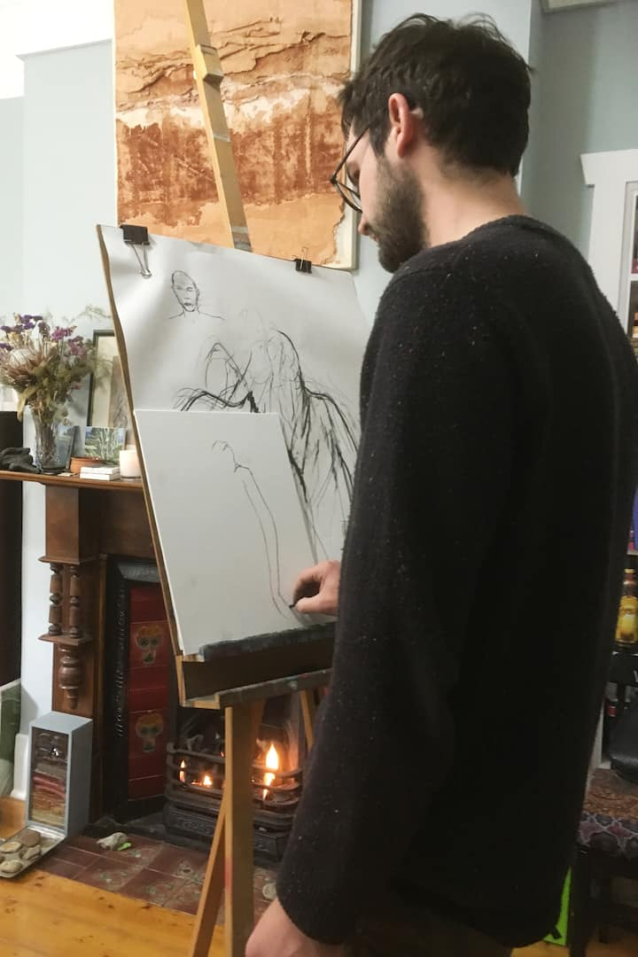 A guest starting portrait of his partner