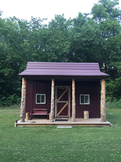 Main cabin, 3 bunks and 1 cot, old propane cook stove