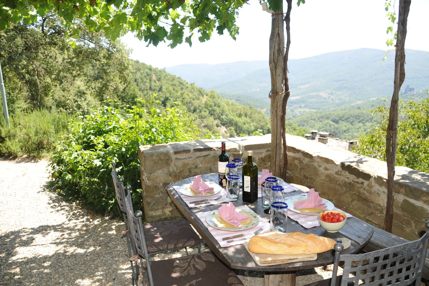 Dining on the terras of the residence