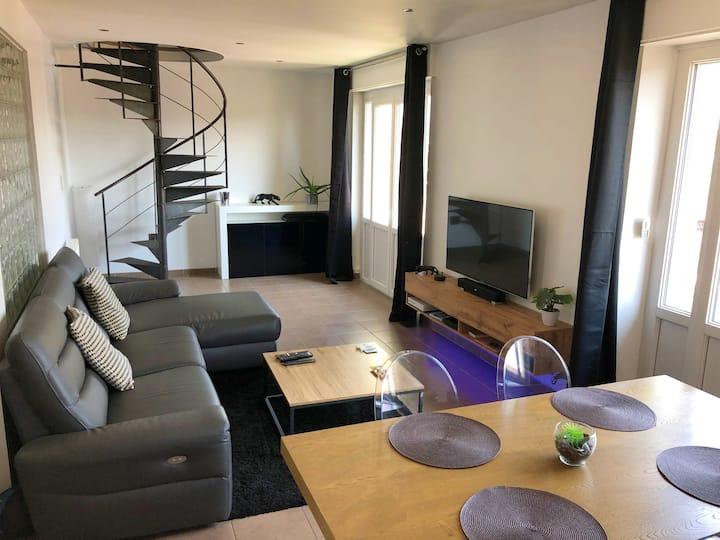 T4 Duplex Lumineux - 75 m2 - Vue sur Lion - Balcon