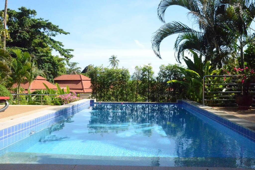 Private pool facing sea