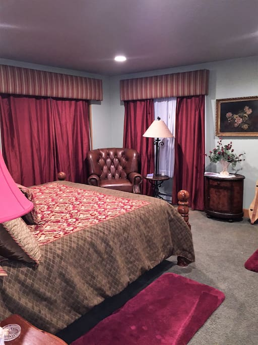 Master Bedroom entering from hallway.  Entrance from outside behind curtain on the left