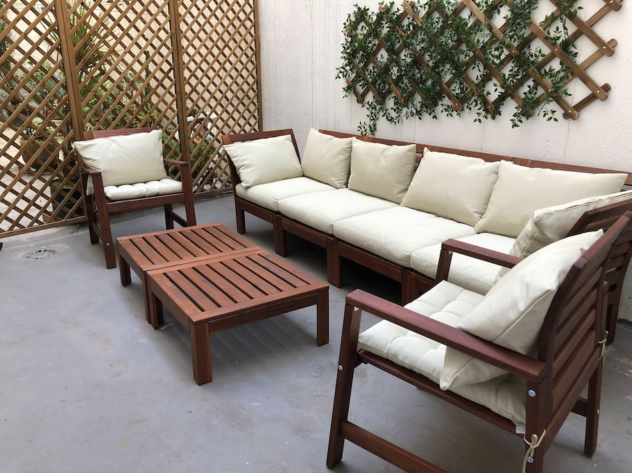 Private patio in the apartment