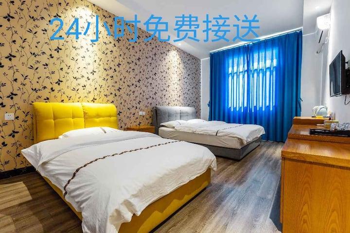 1.8米1.2米一室一厅一卫阳光三人间离机场十分钟路免费接送