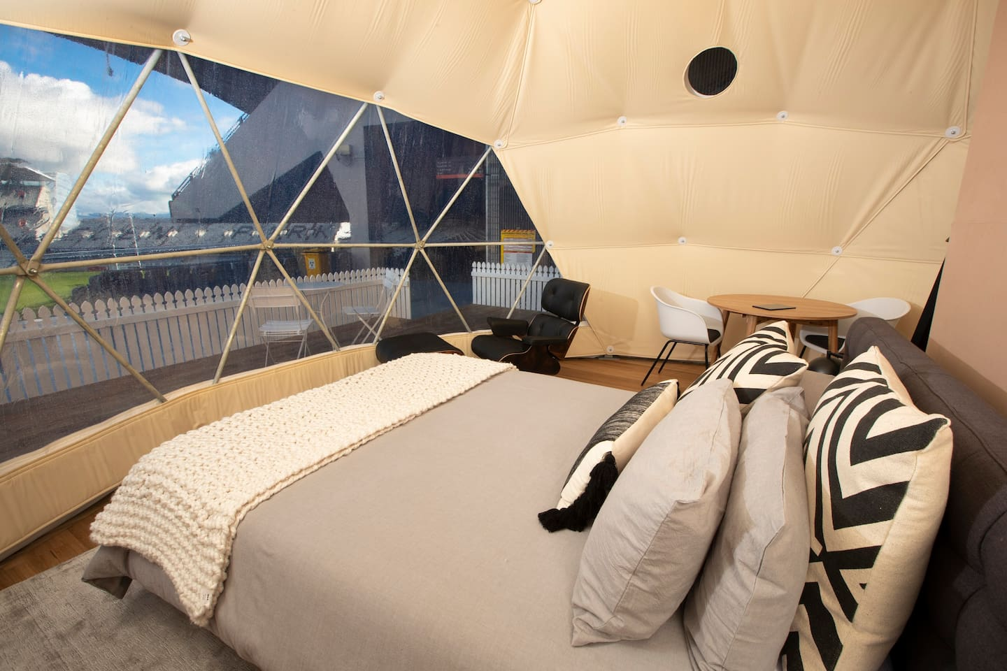 Domes feature premium Nood furnishings and Samsung appliances