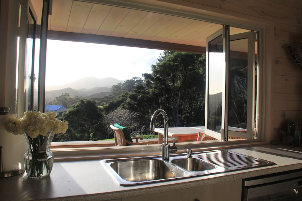 Kitchen with Coromandel Hills in the distance