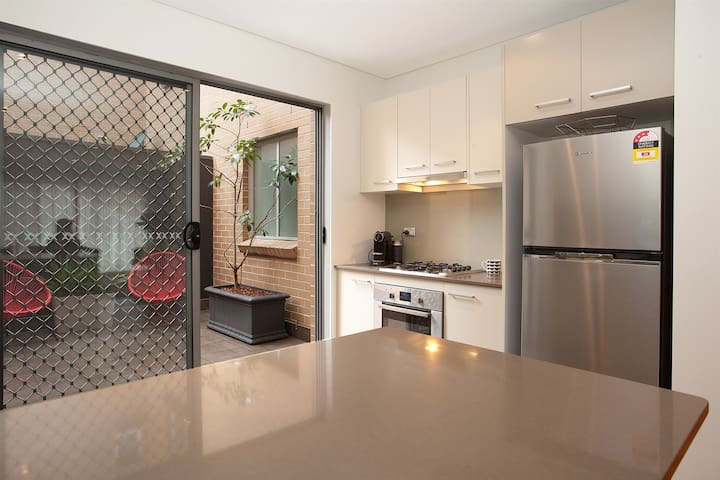 kitchen and outdoor view