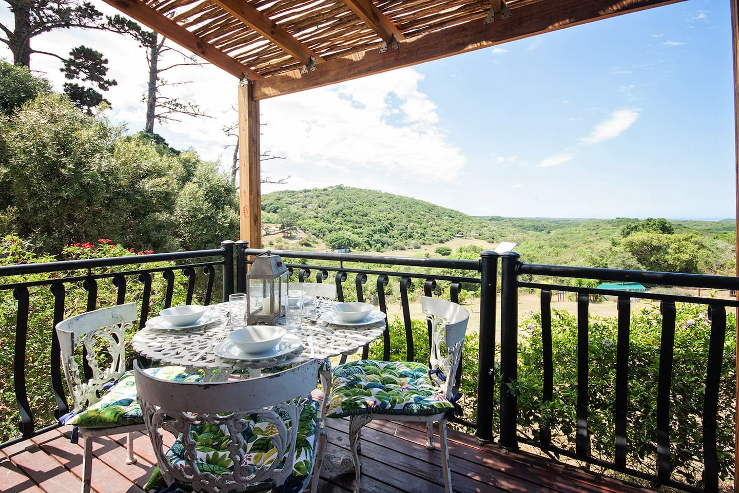 Enjoy a meal on the deck whilst looking over the valley and sea