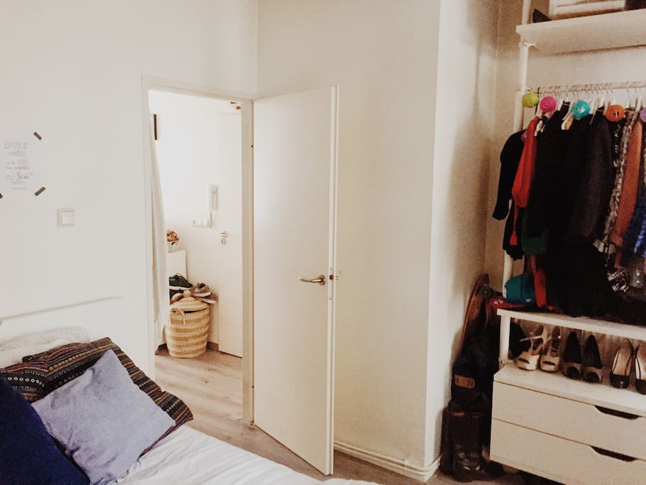 Closet space in the master bedroom