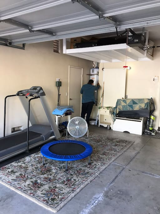 Workout area in the garage