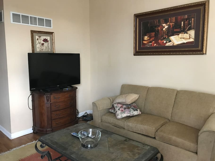 "Living room with 50"" HDTV and basic cable"