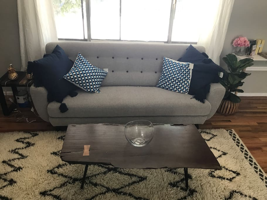Pull out couch and stylish throw pillows