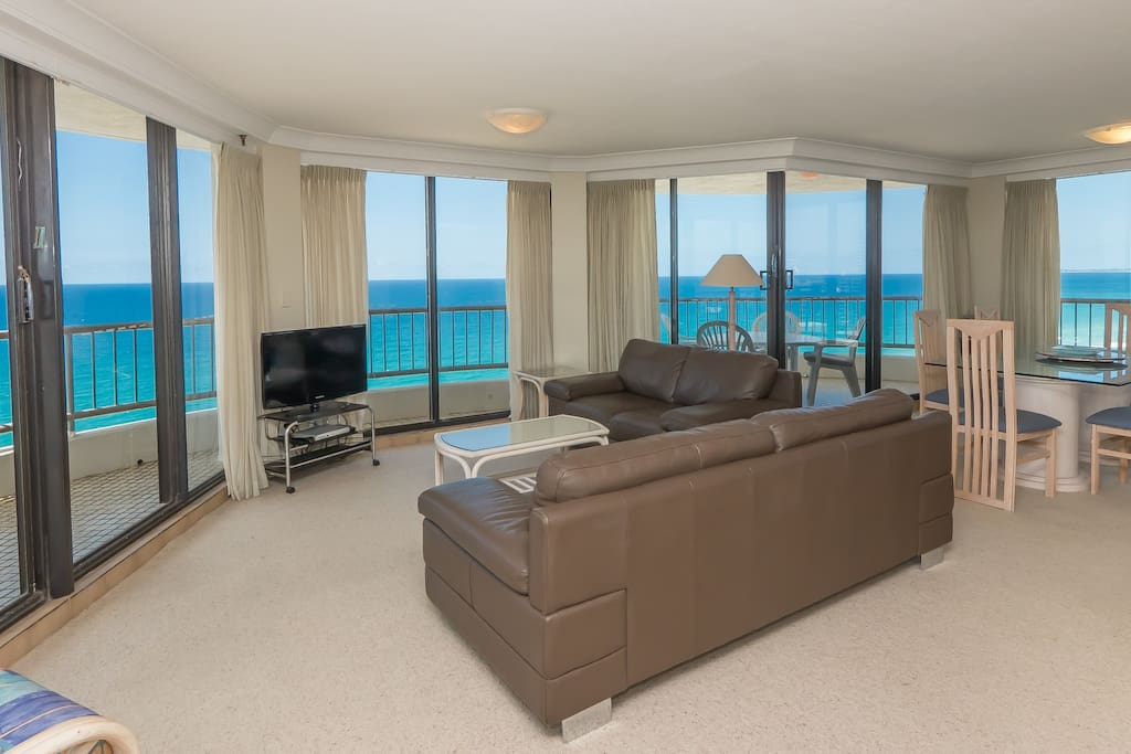 Lounge area with amazing North and South views of the Gold Coast