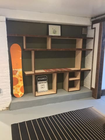 Hand crafted shelf out of 126 year old wood and maple