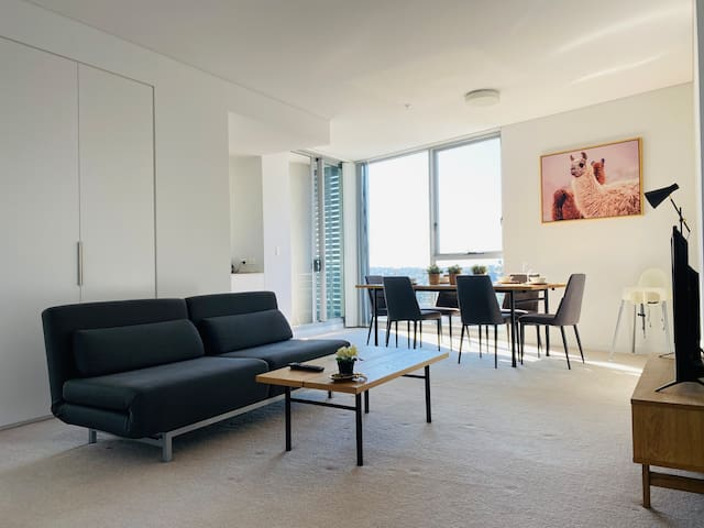 Large open style living room with TV & high speed wi-fi.
