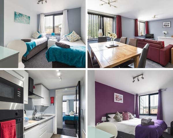 Ouseburn Suite Close to City Centre RVI and University. 1 of 3 apartments the Ouseburn Suite is located on the 1st Floor