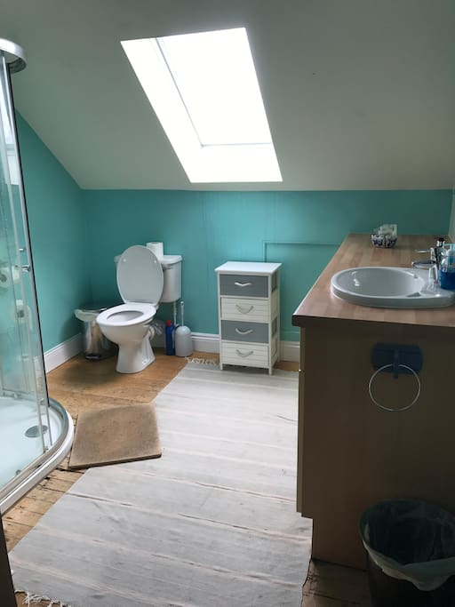 Bright shower room. Open the window to see the sea & Lindisfarne!