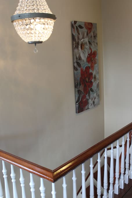 Upstairs landing with Crystal Chandelier