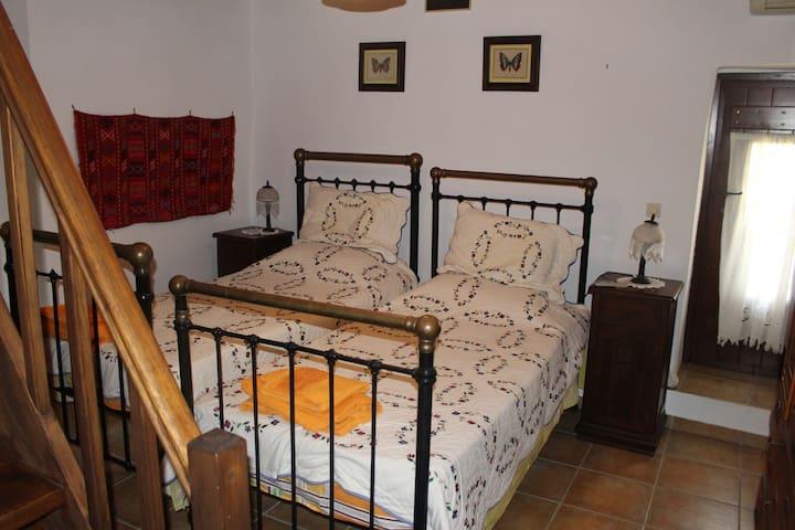 Κρεβατοκαμαρα με δυο μονα κρεβατια και κομοδινα αντικες.
