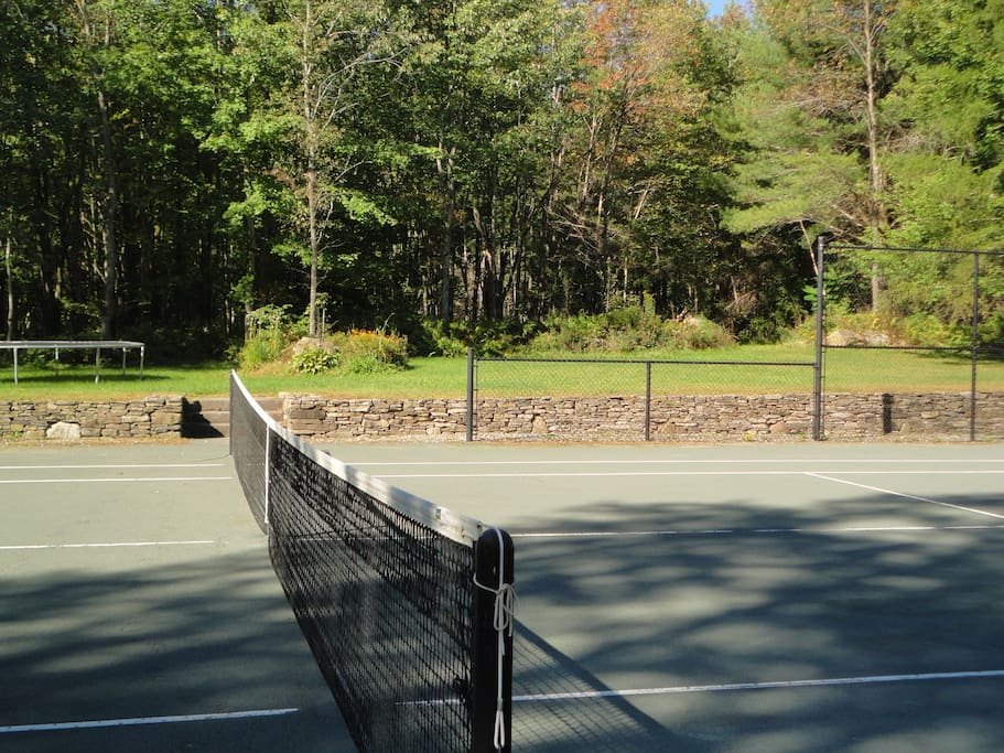 Private tennis court. Pro-clay. Surrounded by trees.