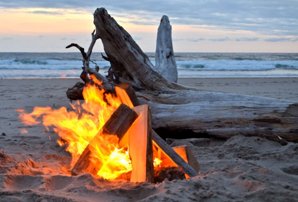 Enjoy a camp fire on the beach.