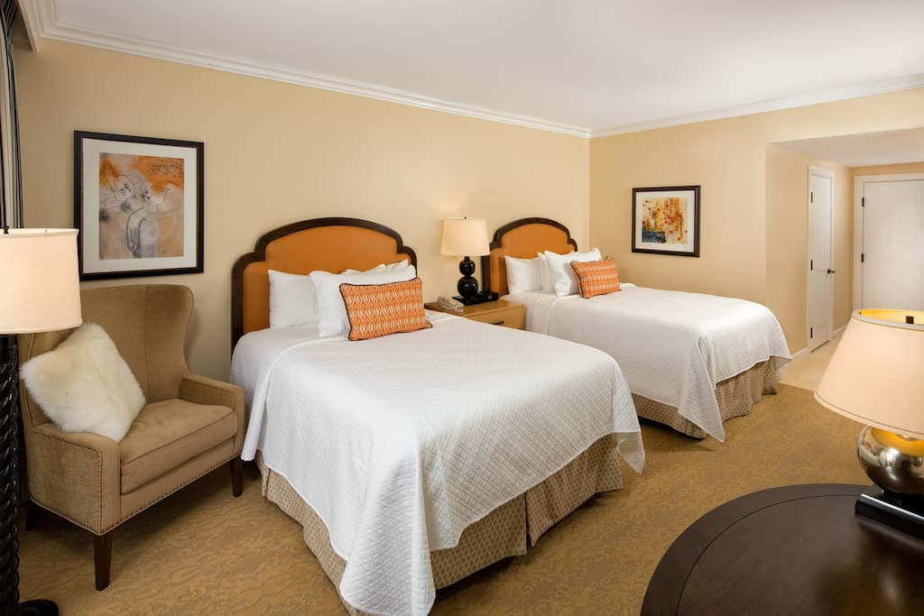 Sink into one of the comfortable queen beds.