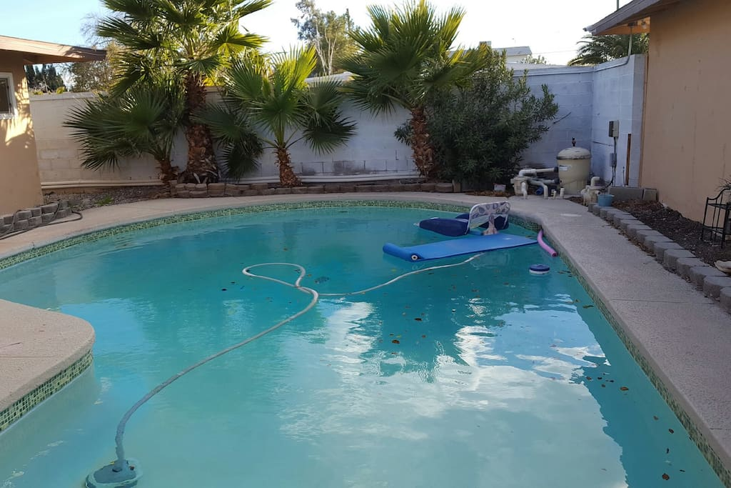 This pool is solar heated and up to 80 and rising so bring a suit !