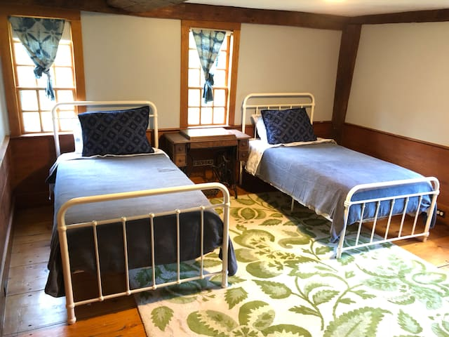 Large bedroom with two twin beds. Memory foam mattresses!
