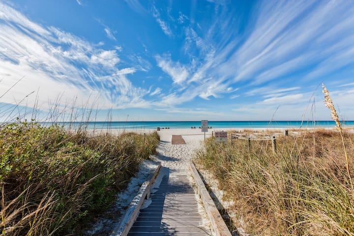 The white sand beaches of Panama City Beach are located just across the road from home.