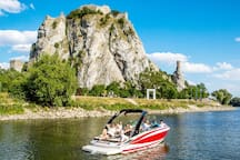 Devin ruin from river Danube. The Slovak - Austrian borders leads through the middle of the river