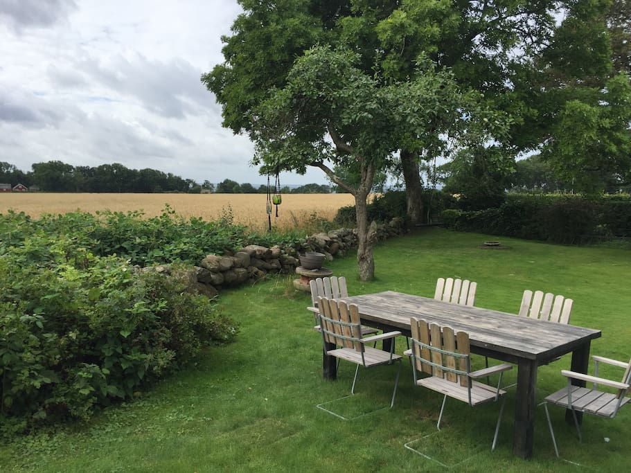 The garden with view over fields, ocean and forest.