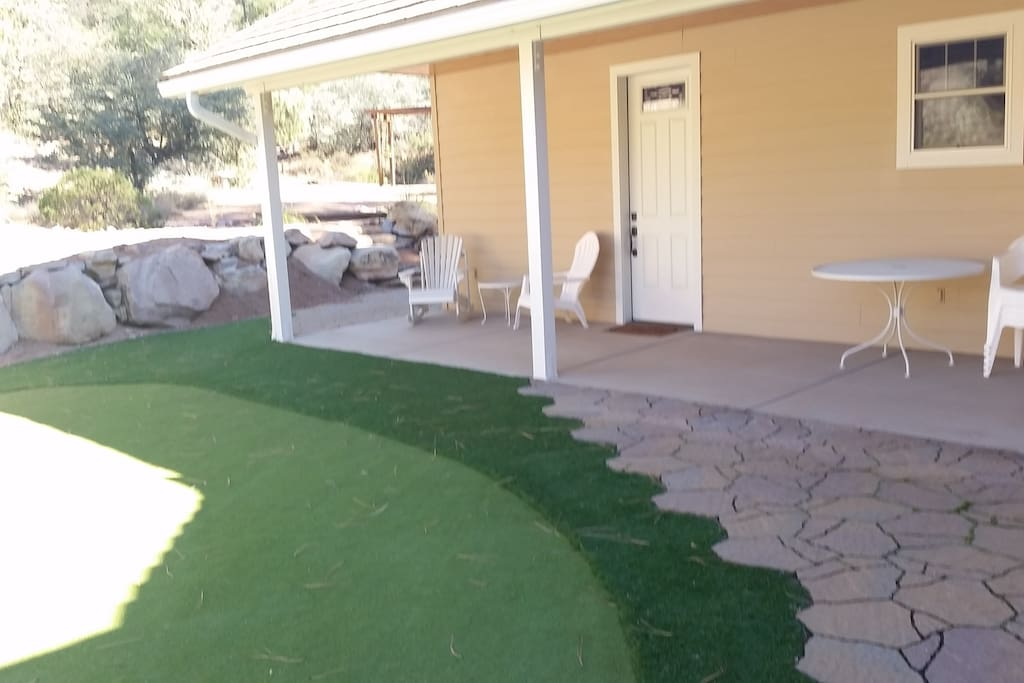 Guest House Porch & Front Door with Putting Green