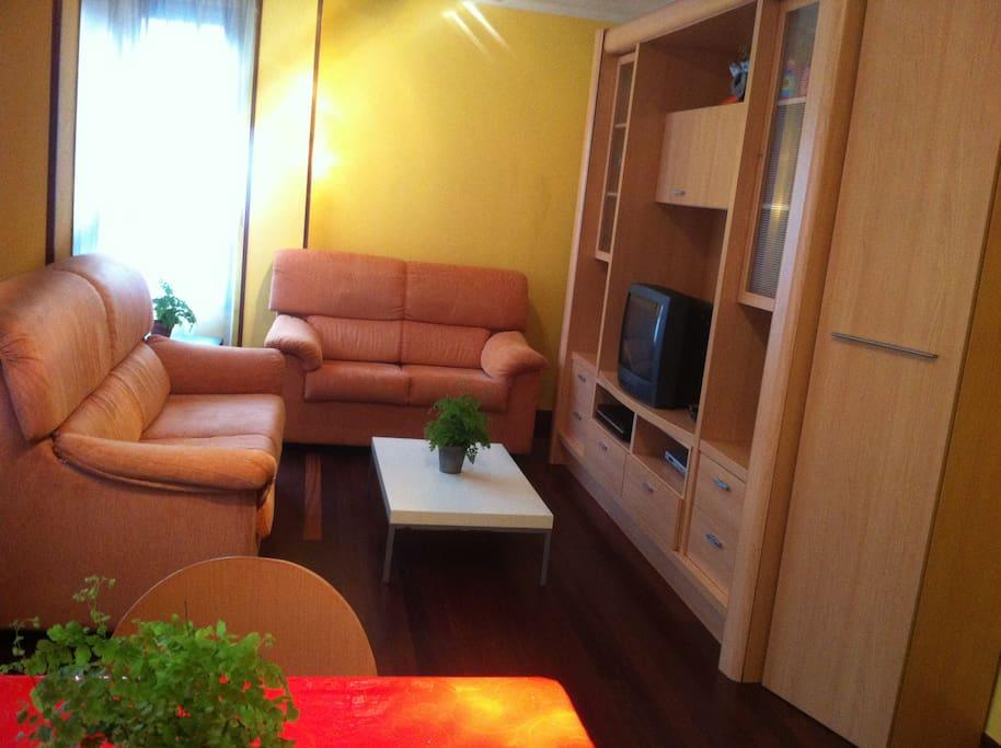 Amplio salon -comedor , un sofa se hace cama de matrimonio.