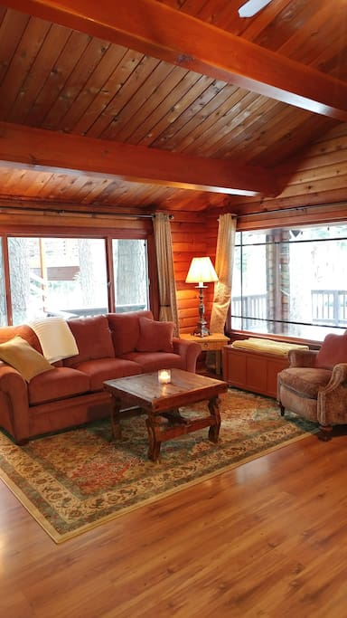 Large windows and comfy furniture