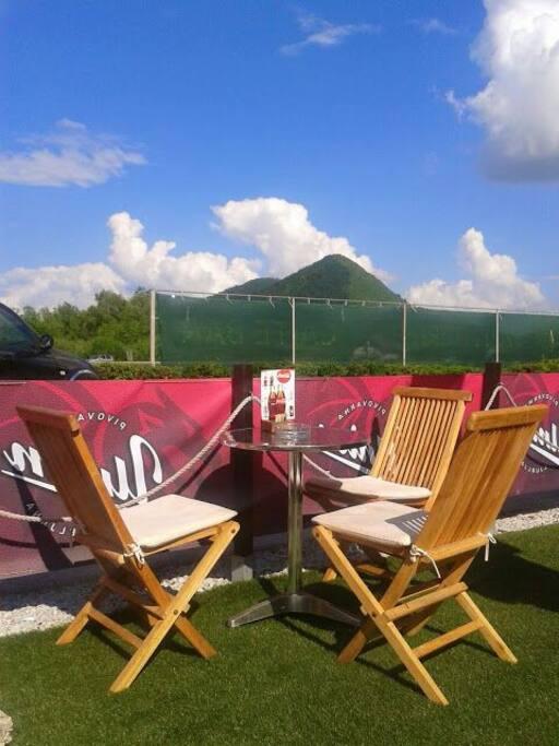 Summer beer garden with nice panorama