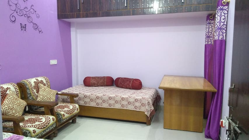 Bedroom 2, opened up if the booking is for more than 2 people. (Air conditioned - window AC)