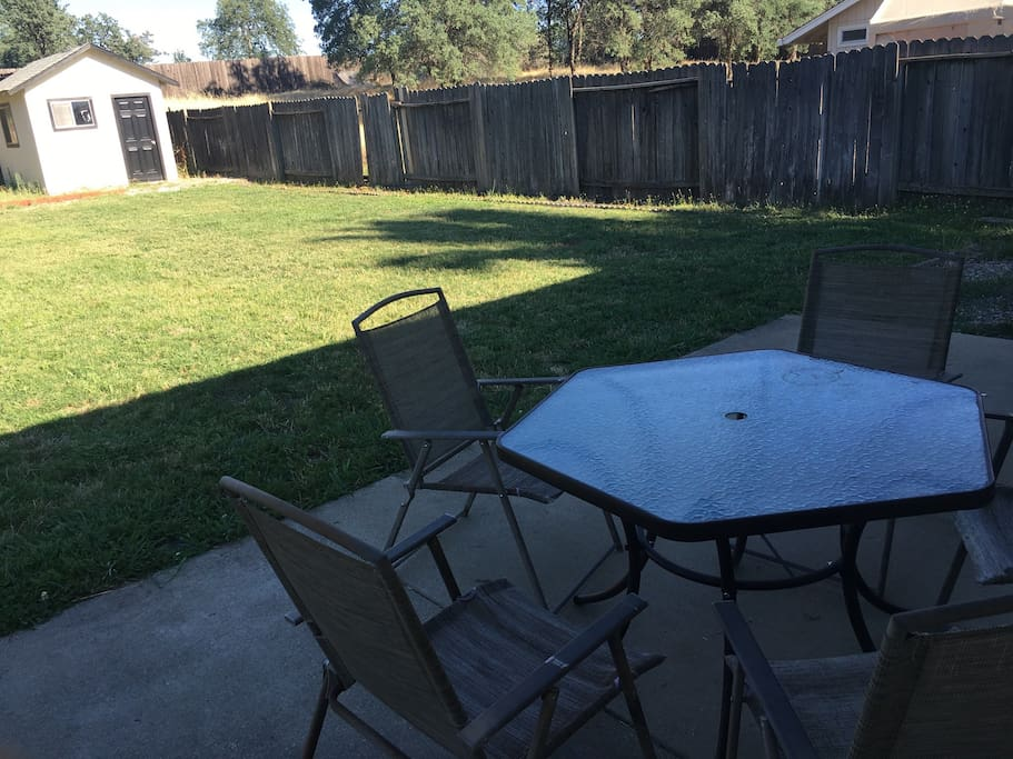 We have a large back yard with patio table and chairs for our guests to use