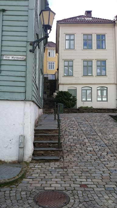 Backside entrance to the house. (Yellow). You can see the apartment on the ground floor.