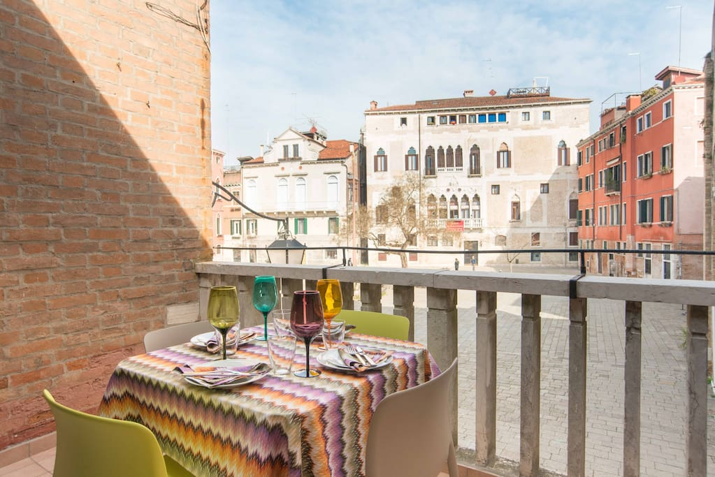 Front balcony overlooking the campo for al fresco dining, or to sit and watch the locals go by
