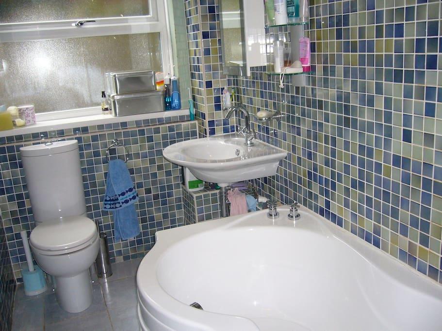 Bathroom with big curvy long bath