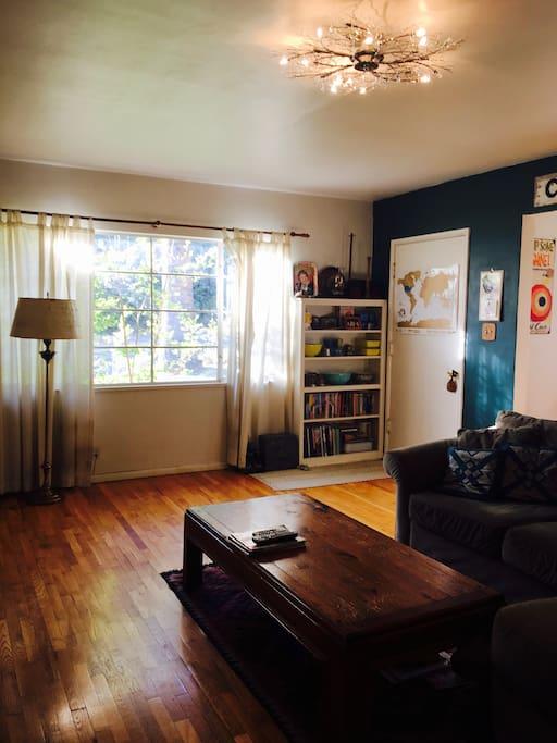 Sunny living room with hardwood floors.